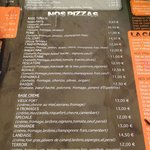 On site pizzeria menu