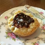 Almond scone with homemade plum jam