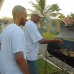 """Camille teaching my son how to """"Jerk"""" chicken"""
