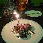 Dessert - yummy profiteroles with birthday candle!