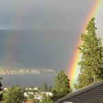 rainbow over Okanagan Lake from the deck