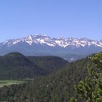 view of mountain range from trail in elk ridge campground