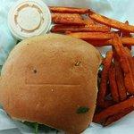 SoCal burger and sweet potato fries