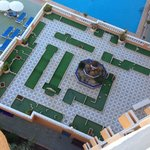 View of the mini golf course below the room