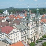 view to the northest - Pernstyn Square & Castle Kuneticka hora (small mountain in upper left cor