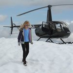 My daughter and our Sky Helicopter atop the alpine peak.