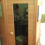 the sauna, near the bed...