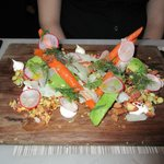 Roasted carrot salad. Avocado, crème fraîche, almond, dill.