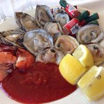 Fresh oysters, clams and shrimps