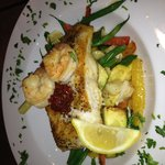 Pan Seared Grouper with grilled shrimp