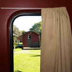 through the caboose window