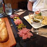 hummus plate, charcuterie and baguette