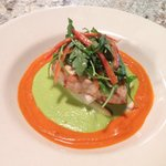 Seared halibut with asparagus and red pepper purée with arugula fennel salad