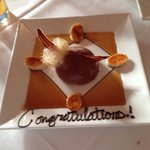 A special touch to our dessert as we were on our honeymoon!