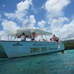 We took a private catamaran to Dunn's River Falls