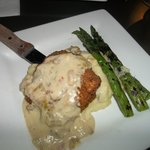 Buttermilk chicken with green chile bechamel,smoked gouda mashers and asparagus