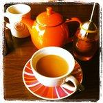 Enjoying tea at Junior's Cafe