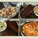 popcorn for appetizer, baby back ribs, bacon slab, bacon mac & cheese