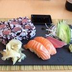 The 55 AED sushi/sashimi combo. Yummm..