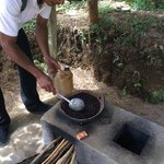 Coffee being prepared on the private plantation