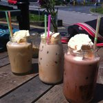 Iced mocha, chai latte and latte! Delicious