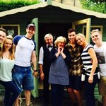 Some of the cast of An Evening of Dirty Dancing with owners Dee & David outside in the grounds