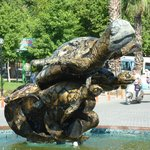 Turtle statue and fountain in Dalyan