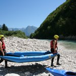 Starting point for kayaking on Soča river