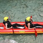 Inflatable kayak for two, Kayaking on Soča river