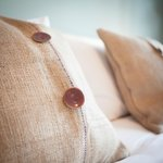 Hessian bedroom cushions