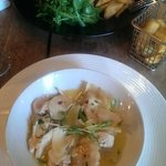 Mains - the  Ribeye and chicken with sweet potatoe ravioli
