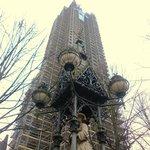 St Nikolai spire encased in scaffolding