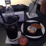 Free drink and cakes from the hotel. Free soft drinks voucher when we checked in.