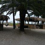 going to the beach. hammocks, dinning area and mini bar
