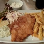 Fish and chips with coleslaw and a generous portion of mayo!