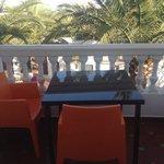 Terrasse face aux palmiers