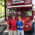 Rufus and Garrison in front of his 1960 Double Decker Bus