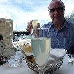 Enjoying a garibaldi (prosecco with limoncello)