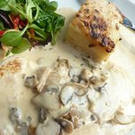 Chicken with creamy mushroon sauce and dauphinoise potatoes