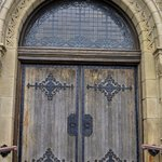 Front doors to the First Church in Plymouth