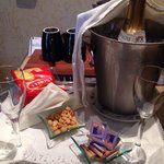 Champagne and snacks.
