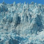 A close-up of the fascinating ice spires and seracs waiting to topple into the sea