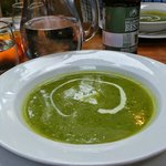 Starter: mint & pea soup.