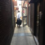 Walking behind the Bricco restaurant to the suite entrance