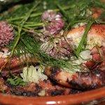 Le calamar, coriandre, ciboulette, aneth, sauge et origan frais