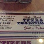 Texas Traditions Menu