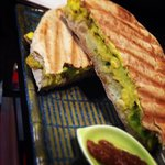 Skinny Pirate sandwich, with sweet potato salad, avocado and ginger soy sauce