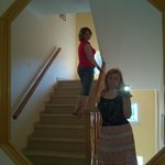 On the stairs of the Brati Beach II Hotel