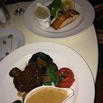 steak and salmon dish