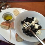 my starter of olives and cheese